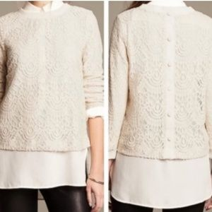 Banana Republic | Cream Lace Button Back Blouse